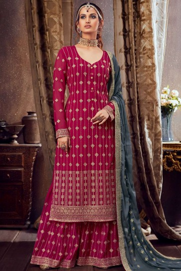 Rani pink Georgette Sharara Suit