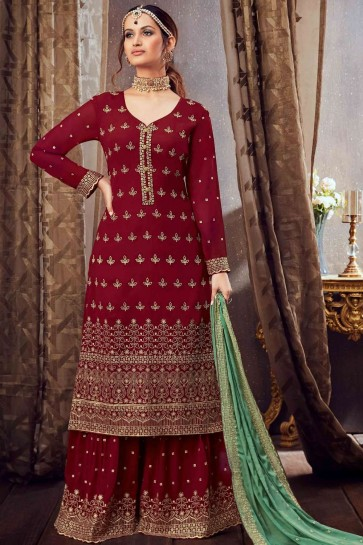 Maroon Georgette Sharara Suit