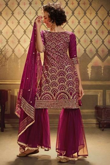 Soft Net Sharara Suit in Dark Pink with Soft Net