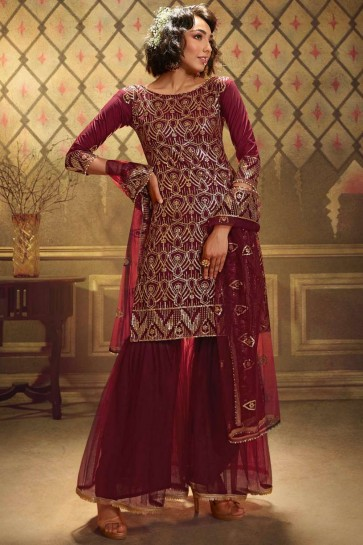 Maroon Sharara Suit with Soft Net Soft Net