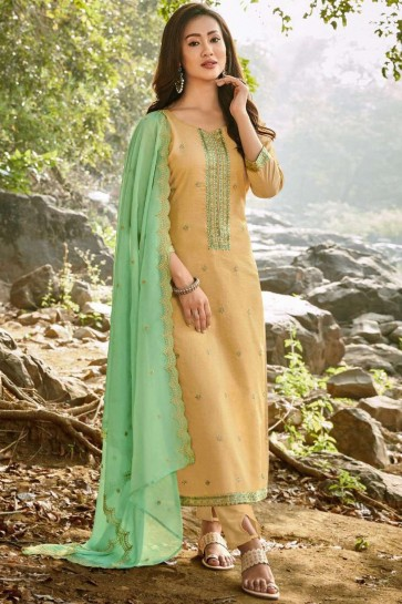 Cotton Palazzo Suit with Chanderi in Light Yellow