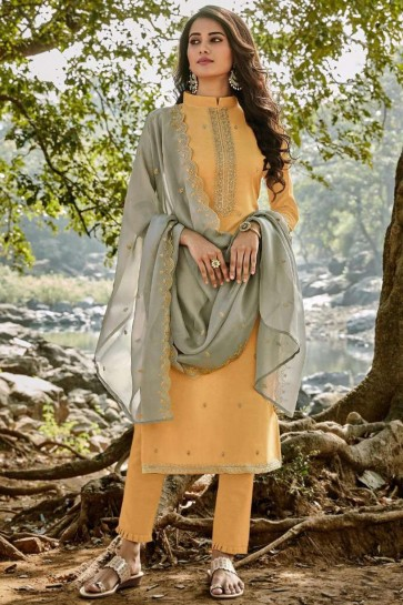 Musterd yellow Chanderi and cotton Palazzo Suit