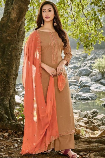 Beige Chanderi and cotton Palazzo Suit