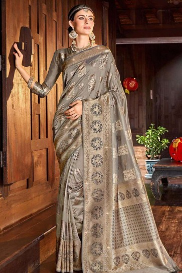 Grey Saree in Silk with Weaving