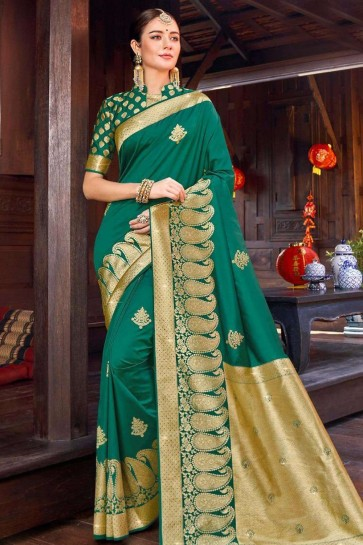 Silk Saree in Green with Weaving