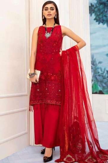 Red Net Palazzo Suit