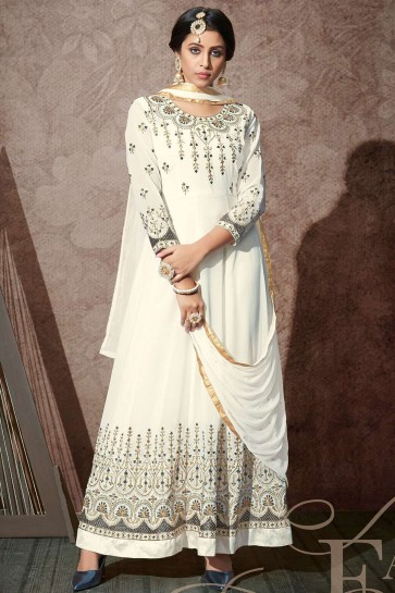 Georgette Anarkali Suit in White with Georgette