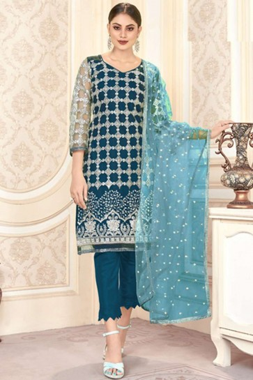 Blue Palazzo Suit in Net with Net