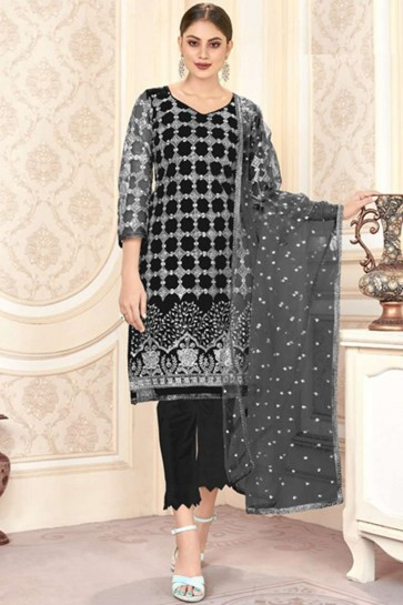 Black Net Pakistani Suit