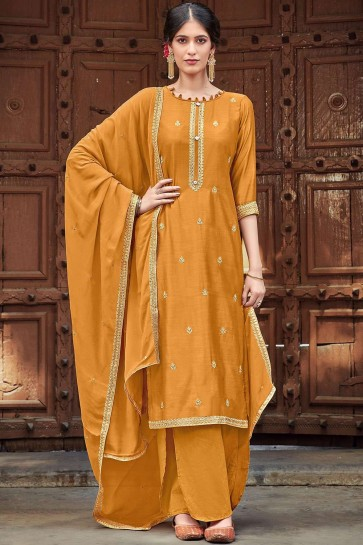 Musterd yellow Cotton and silk Palazzo Suit