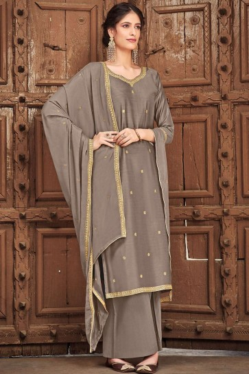Grey Cotton and silk Palazzo Suit