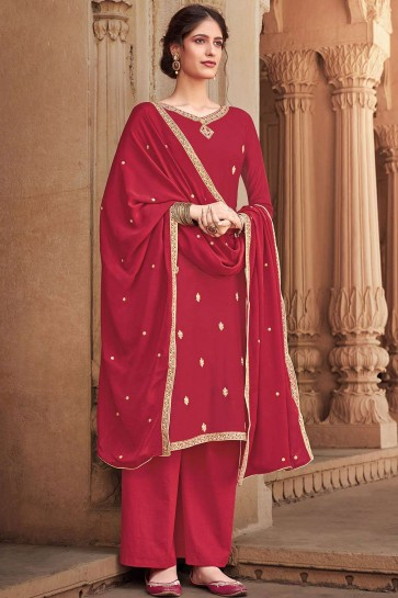 Red Cotton and silk Palazzo Suit