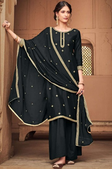 Black Cotton and silk Palazzo Suit