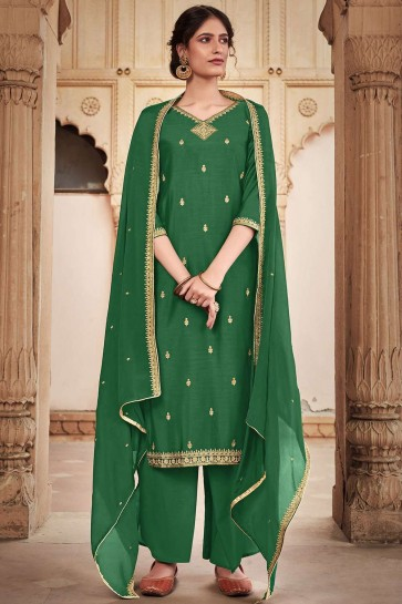 Green Cotton and silk Palazzo Suit