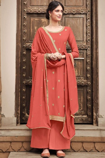 Peach Cotton and silk Palazzo Suit