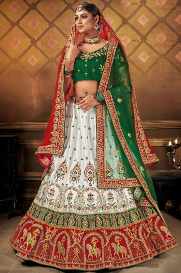 White Satin Party Wear Lehenga Choli