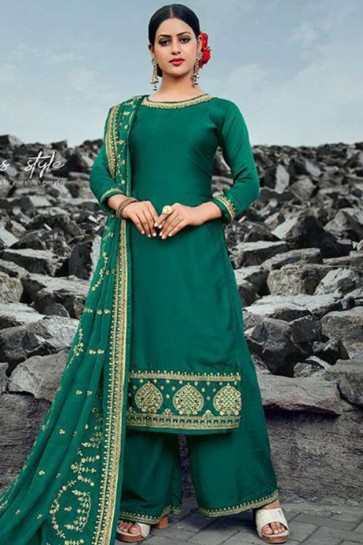 Green Georgette and satin Palazzo Suit