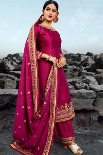 Rani pink Georgette and satin Palazzo Suit