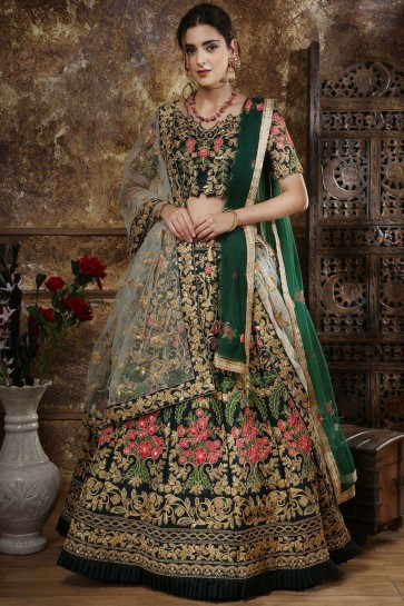Green Satin and taffeta Lehenga Choli