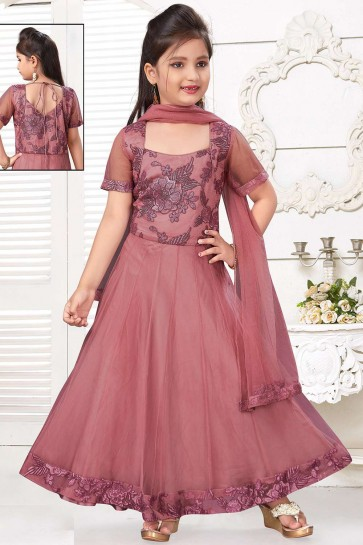 Rose golden,pink Net Anarkali Suit