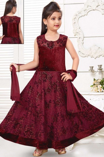 Maroon Velvet Gown Dress