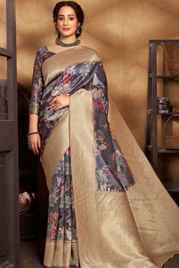 Dark grey Silk South Indian Saree