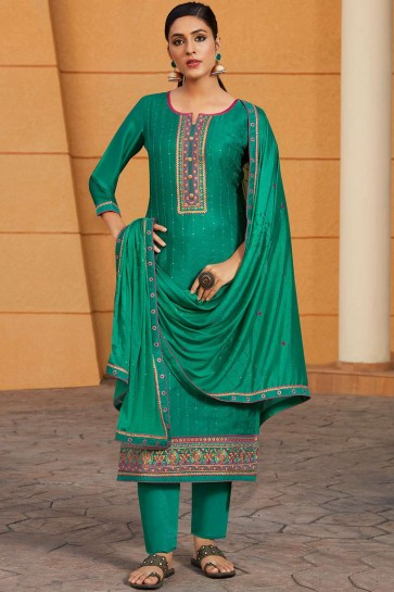 Green Satin Straight Pant Suit