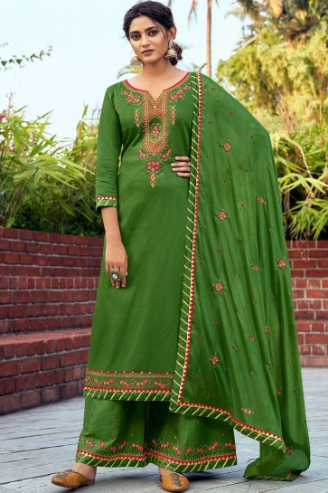 Palazzo suit in green cotton and silk