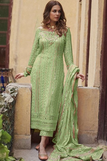 Green Georgette Palazzo Suit