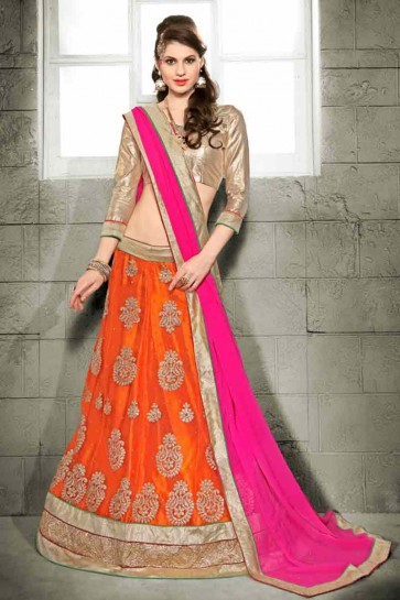 Orange color Net semi stitched Lehenga
