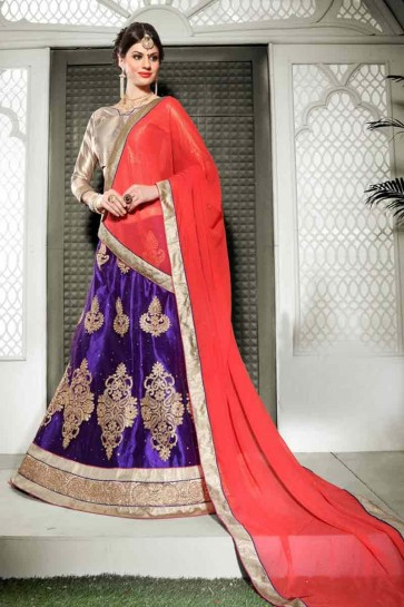 Purple color Net semi stitched Lehenga
