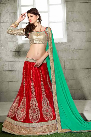 Red color Net semi stitched Lehenga
