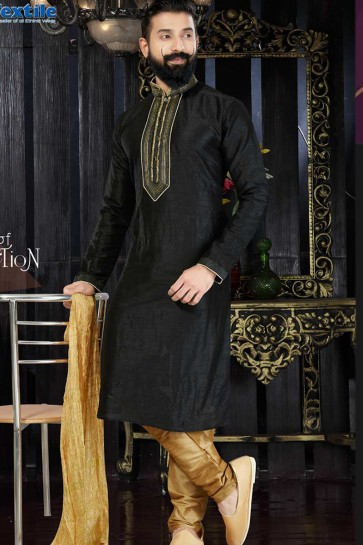 Black Art Dupion Ethnic Wear Kurta Kurta Pajama