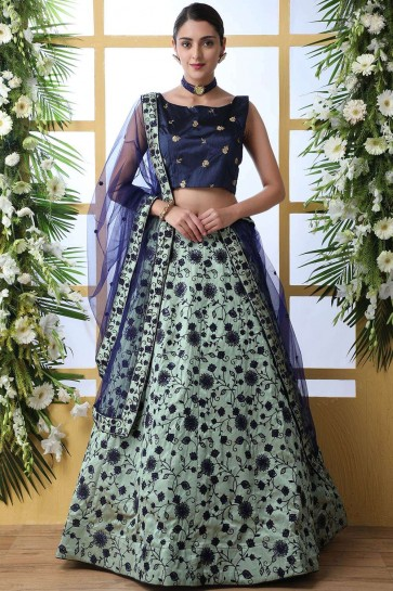 Mint green Art silk Lehenga Choli