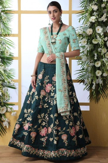 Dark green Art silk Lehenga Choli