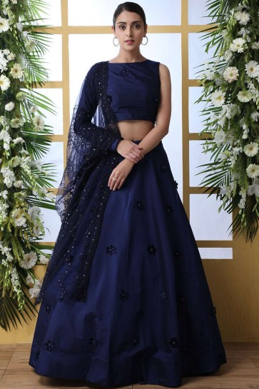 Navy blue Silk and taffeta Lehenga Choli