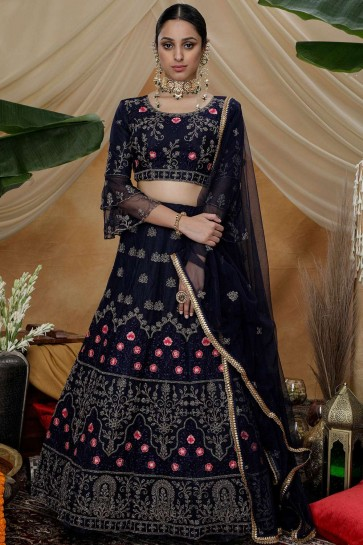 Navy blue Net Lehenga Choli