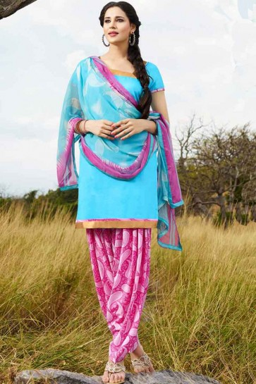 Sky Blue   Glace Cotton Patiala Salwar Kameez