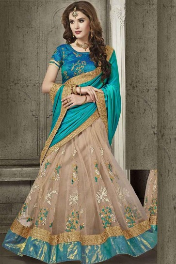 Blue And Beige Silk and Net Saree