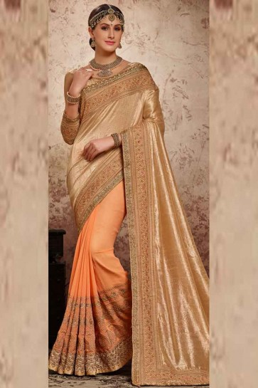 Peach & Gold PAPER SILK CHIFFON & HLAF GEORGETTE Saree