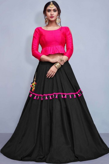 Black Cotton and silk Lehenga Choli