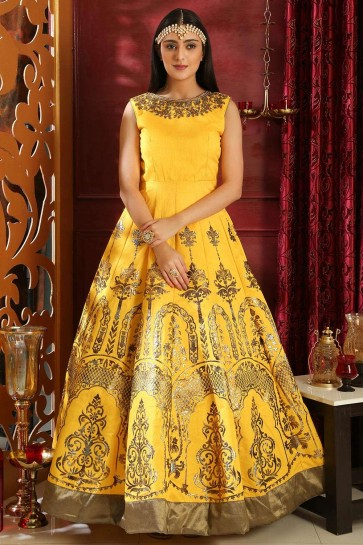 Yellow Silk Gown Dress