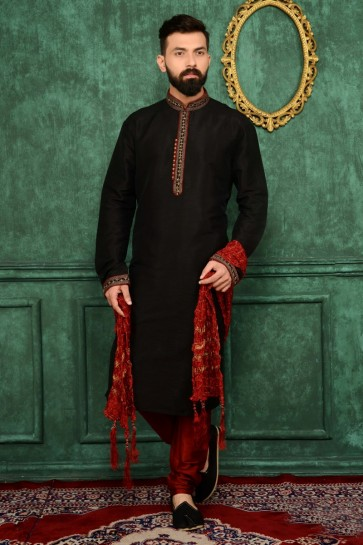 Black Art Banarasi Silk Ethnic Wear Kurta Readymade Kurta Payjama