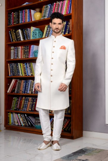 Off White Imported Fabric Indo Western Indo Western