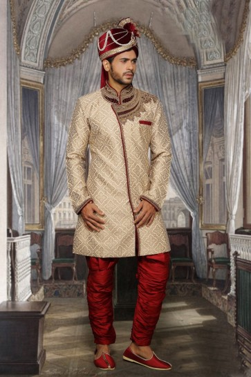Beige Jari Jackard Ethnic Wear Designer Ready-Made Sherwani