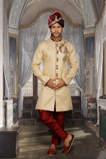 Beige Jari Brocked Ethnic Wear Designer Ready-Made Sherwani