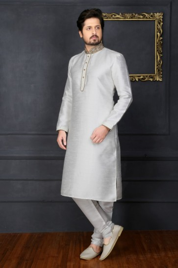 Off White Art Banarasi Silk Ethnic Wear Kurta Readymade Kurta Payjama