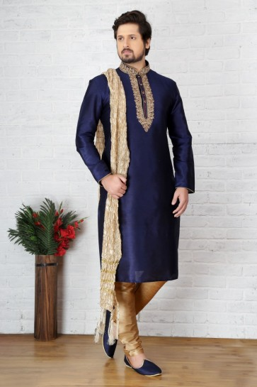 Blue Dupion Art Silk Ethnic Wear Kurta Readymade Kurta Payjama