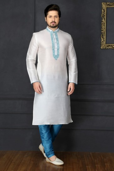 Off White Dupion Art Silk Ethnic Wear Kurta Readymade Kurta Payjama