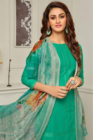 Green Camric Cotton Palazzo Suit